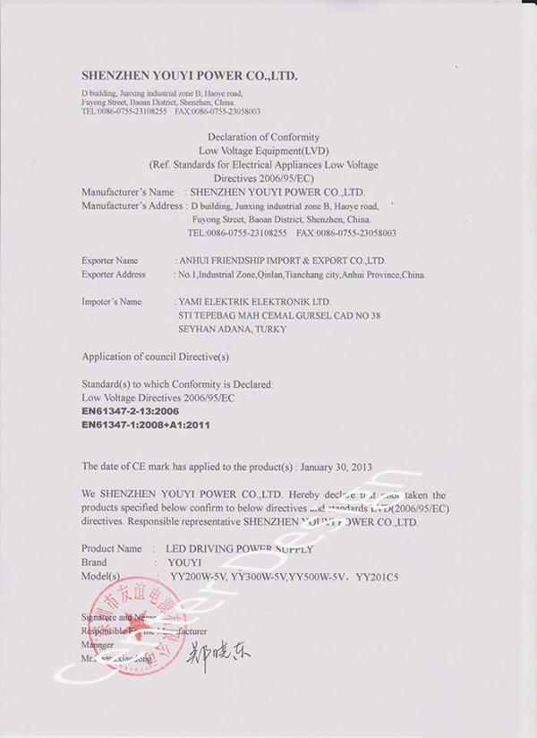 Ürünlerimize ait sertifikalar